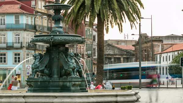 Fountain with palm near the plaza where is located Carmo church in Porto, Portugal timelapse Royalty-free stock video