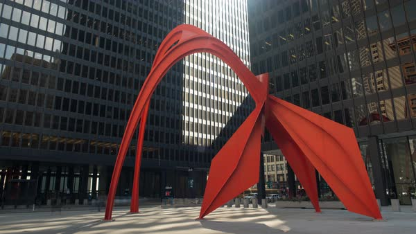 Static shot of Flamingo sculpture in Chicago Royalty-free stock video