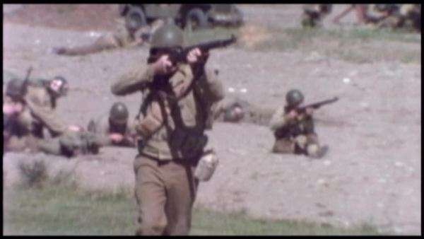montage of a battle during world war ii 1980s movie footage