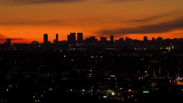 Static shot of Santa Monica skyline at dusk Rights-managed stock video