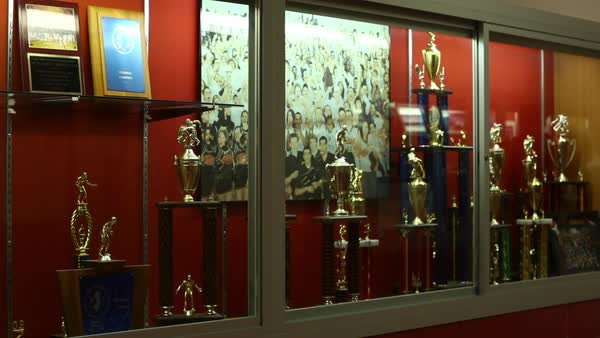 Locked-off shot of a school trophy case Rights-managed stock video