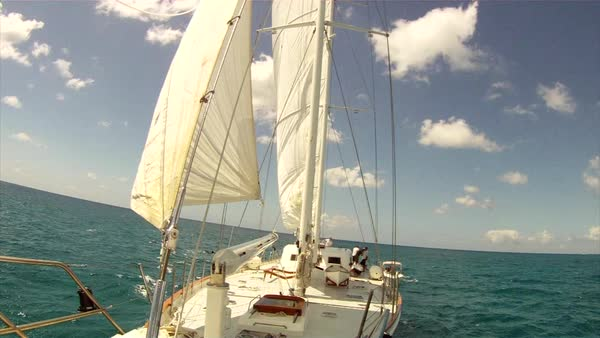 Static shot from the bow of a sailboat in the sun Rights-managed stock video