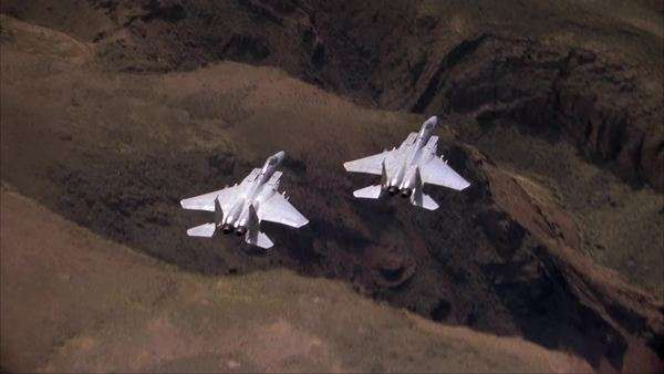 Aerial shot of military fighter jets Rights-managed stock video
