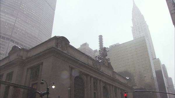 Tilt-down shot of Grand Central Terminal in Manhattan Rights-managed stock video