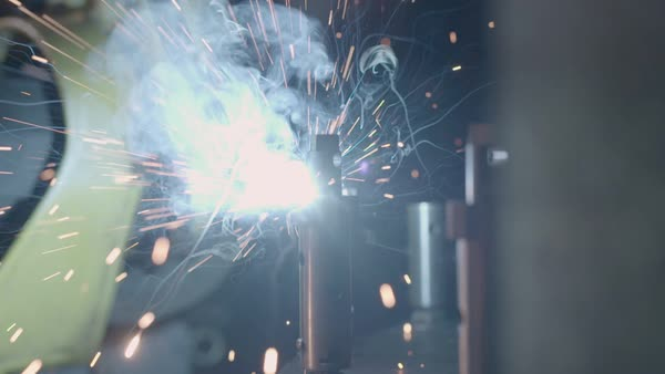 Slow motion of a working welding robot Royalty-free stock video