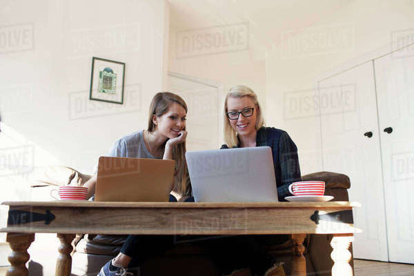 Two young female entrepreneurs working at home on laptop Royalty-free stock photo