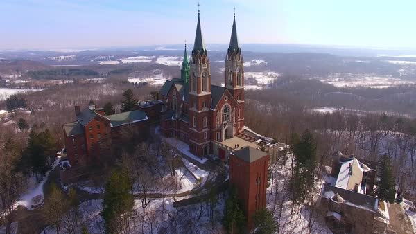 Aerial view of the breathtaking steeples of Holy Hill Church, Wisconsin. Royalty-free stock video