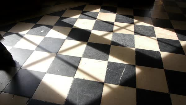 Medium shot of a woman walking on a checkered floor Royalty-free stock video