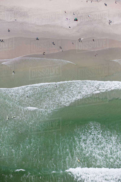 Aerial view of people on sunny beach Royalty-free stock photo