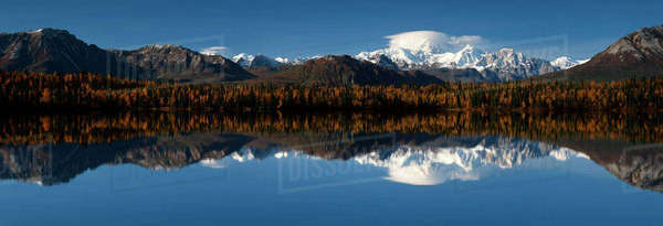 Mt Mckinley Tokosha Mtns Byers Lake Southcentral Alaska Fall Scenic Rights-managed stock photo