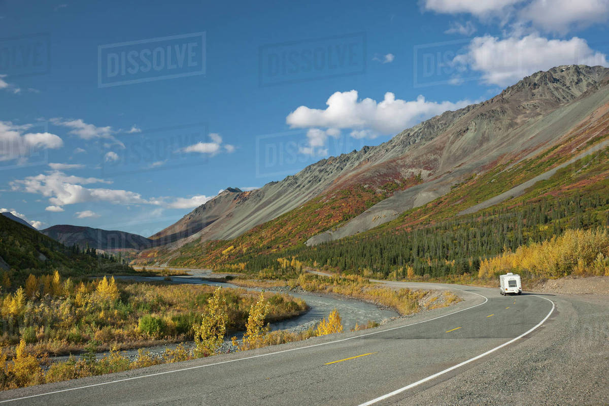 1c38385b6 Motorhome Travels The Richardson Highway Surrounded By The Autumn Colors,  Rainbow Mountain, Alaska Range, Interior Alaska stock photo