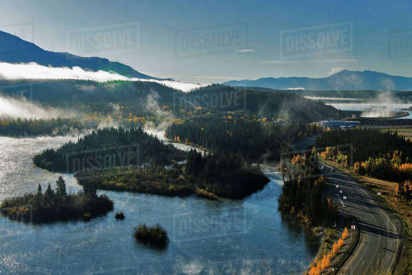 Scenic view overlooking the Alaska Highway and Yukon River near Whitehorse, Yukon Territory, Canada Rights-managed stock photo