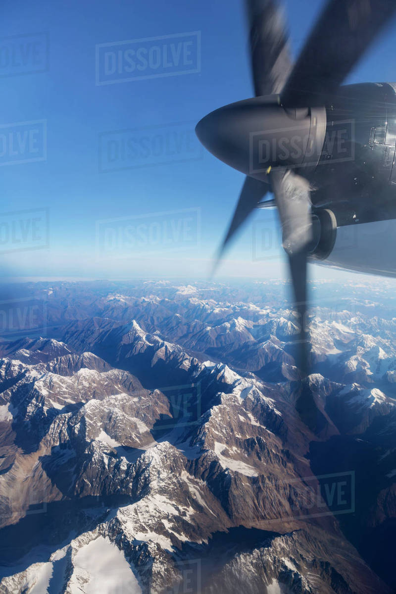 Aerial View Of The Tordillo Mountains From A Propeller Commercial Airplane Southcentral Alaska USA Summer