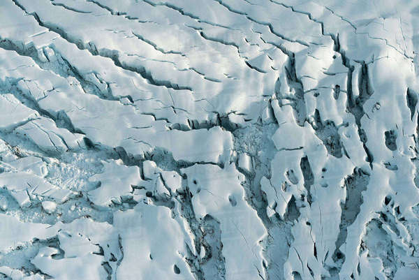 Aerial View Overlooking Glacial Crevasses, Alaska Range, Interior Alaska, USA Rights-managed stock photo