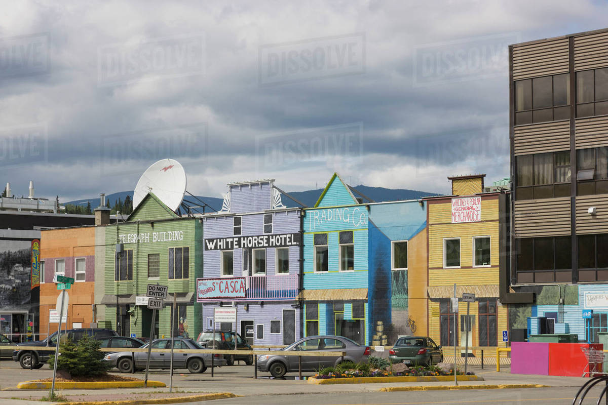 Colorful Buildings And Shops On Main Street In Downtown Whitehorse Yukon Canada Summer Panorama Stock Photo Dissolve