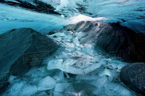 Ice Cave Inside The Clear Creek Glacier, Chugach State Park, Southcentral Alaska, Autumn Rights-managed stock photo