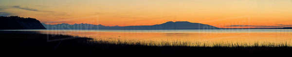 "Sunset Over Mount Susitna ""Sleeping Lady"" Across Knik Arm Southcentral Alaska Summer Rights-managed stock photo"