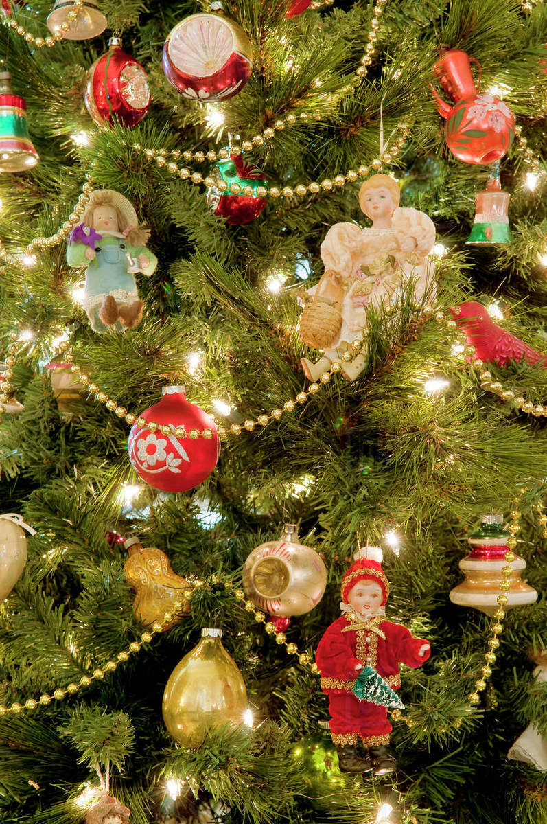 Christmas Tree Close Up Detail Of Lights And Ornaments Stock Photo