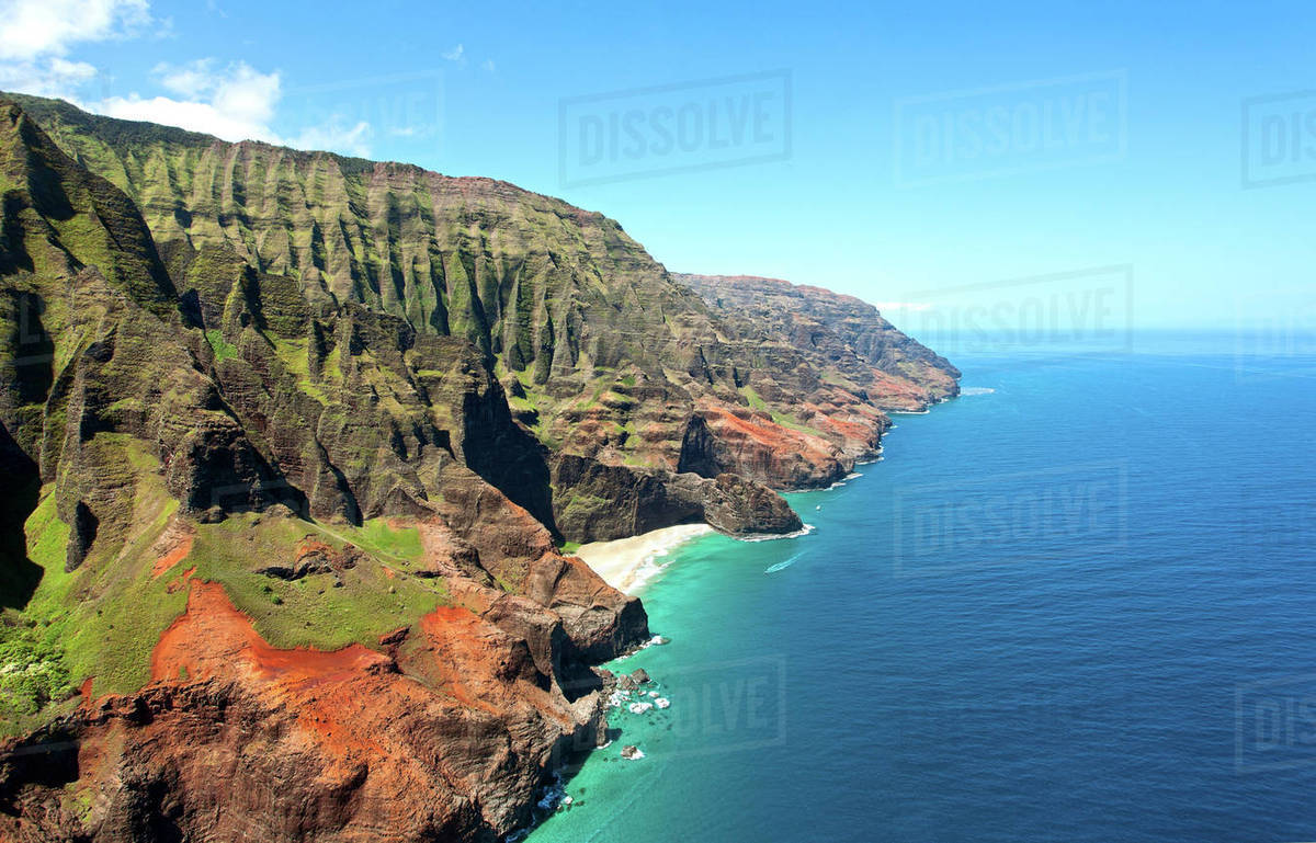 Hawaii Kauai Na Pali Coast Aerial Of Coastal Cliffs And Honopu Beach Or Cathedral In Distance