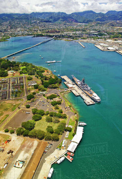 Hawaii, Oahu, Pearl Harbor, Aerial View Of The Uss Arizona Memorial And Uss Missouri, Wwii Battelships. Rights-managed stock photo