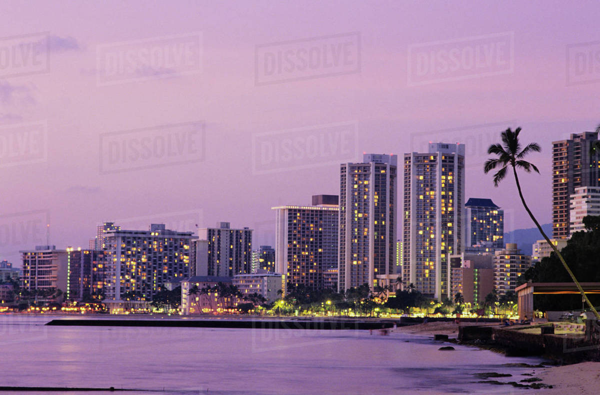 Usa Hawaii Oahu Honolulu Hotels On Waikiki Beach At Dusk D1234 7 822