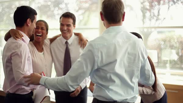 Business associates congratulating each other Royalty-free stock video