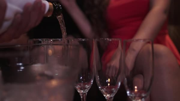 Pouring champagne at a party Royalty-free stock video