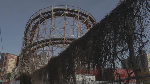 USA, New York, New York City, Brooklyn, Coney Island, the Coney Island Cyclone during the off season Royalty-free stock video