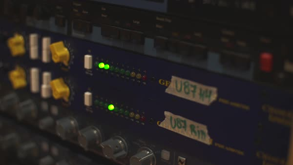 Flashing LED lights on an audio compressor Royalty-free stock video
