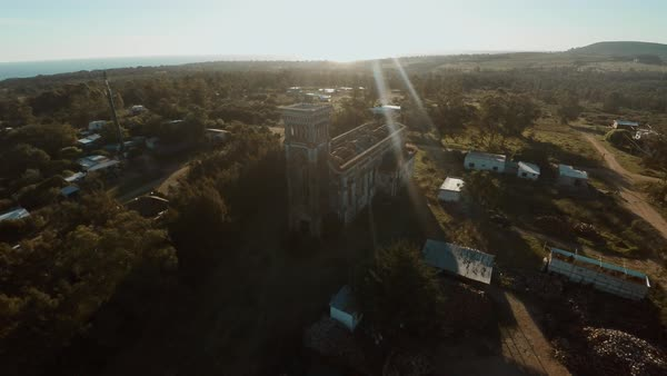 Aerial view of ruined, abandoned church Royalty-free stock video
