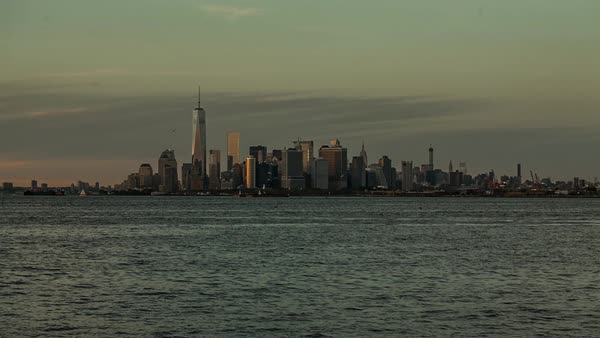 USA, New York, New York City, Lower Manhattan skyline viewed from the water Royalty-free stock video