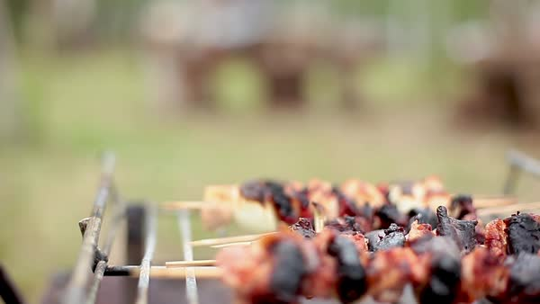 Removing cooked kebabs from grill Royalty-free stock video