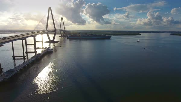 Cinematic Epic Aerial of Cargo Ships in Charleston SC Harbor Royalty-free stock video