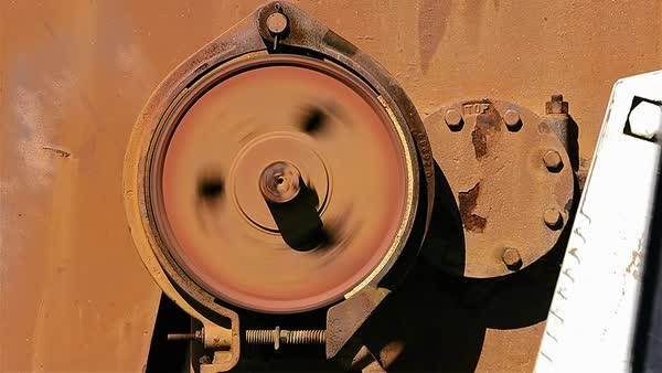 Close-up shot of a brake on a pumpjack Royalty-free stock video