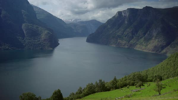 Hand-held shot of a fjord in Norway Royalty-free stock video