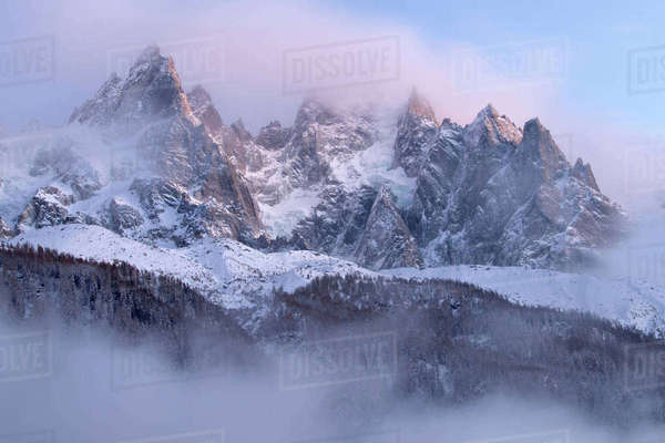 Mountains covered in snow, Chamonix, France, in winter of December 2011 Rights-managed stock photo