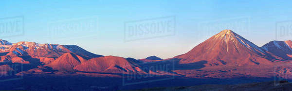 Panoramic View of Andes with Licancabur Volcano, Atacama Desert, Chile Royalty-free stock photo