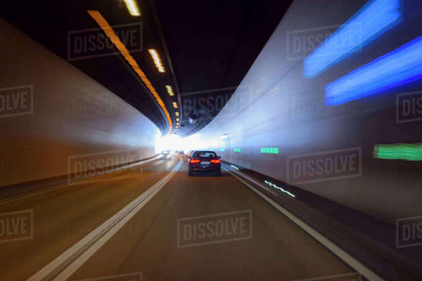 Driving through Tunnel with Traffic, Austria Royalty-free stock photo