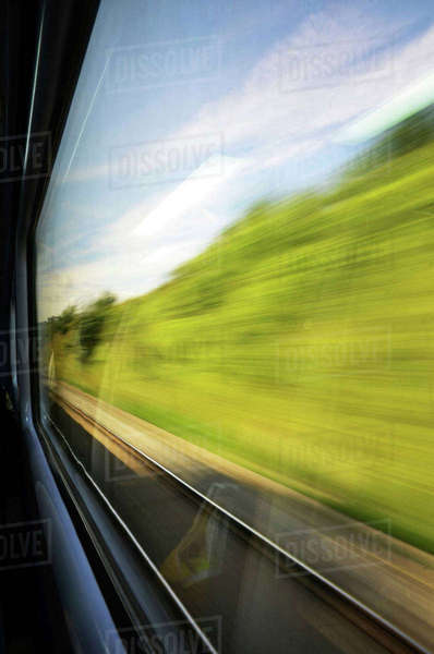 Looking out Speeding Train Window at Country Side Royalty-free stock photo
