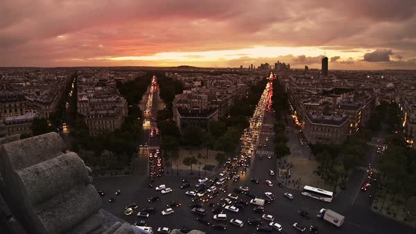 View from Arc de Triomphe towards downtown Paris. Royalty-free stock video