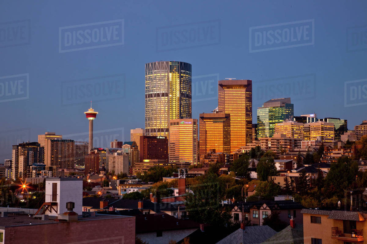 Calgary Skyline At Sunrise View From Northeast Calgary Ab Canada Stock Photo