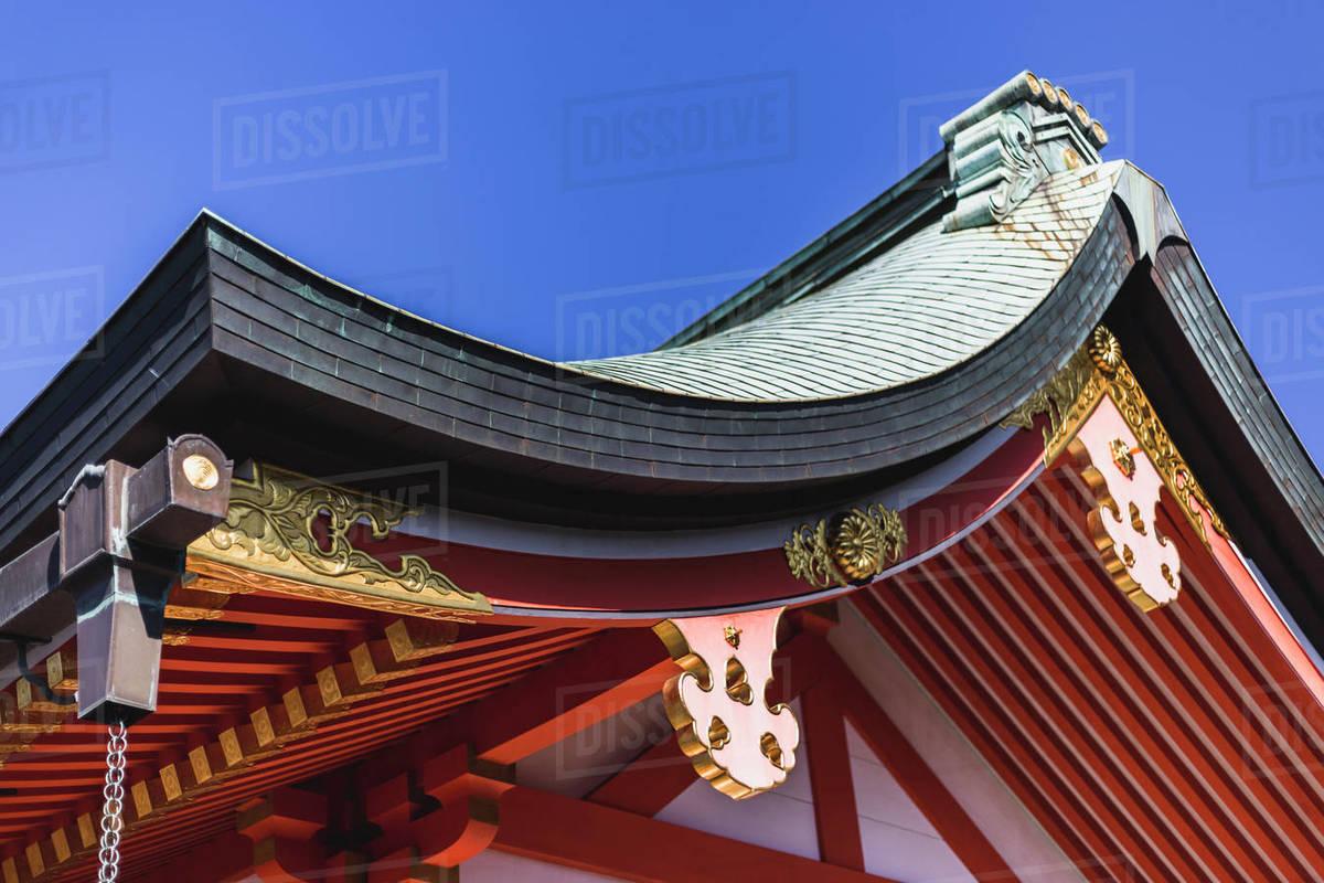 Tiled Roof Of a Shrine at Fushimi Inari in Kyoto, Japan Royalty-free stock photo