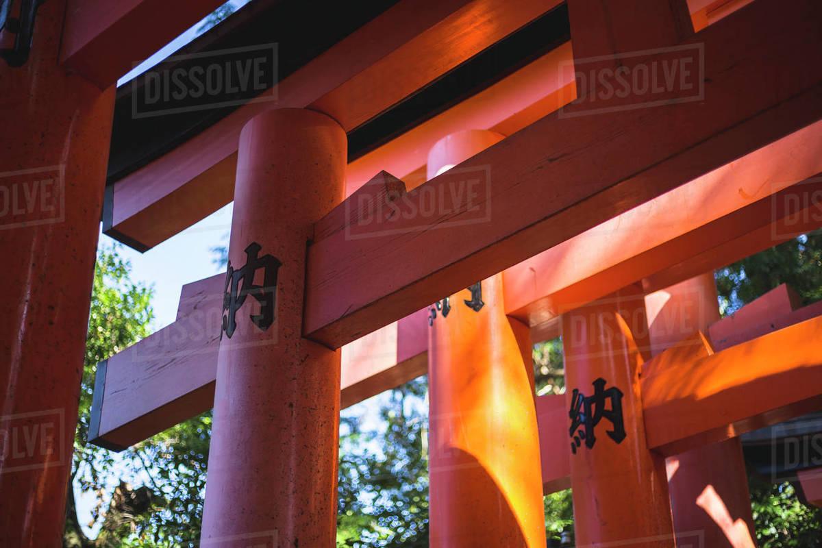 Detail Shot of Torii Gates at Fushimi Inari Shrine in Kyoto, Japan Royalty-free stock photo