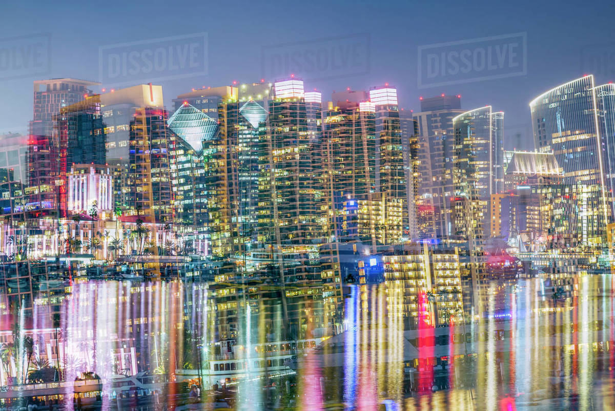 San Diego Skyline with double exposure effect. Royalty-free stock photo