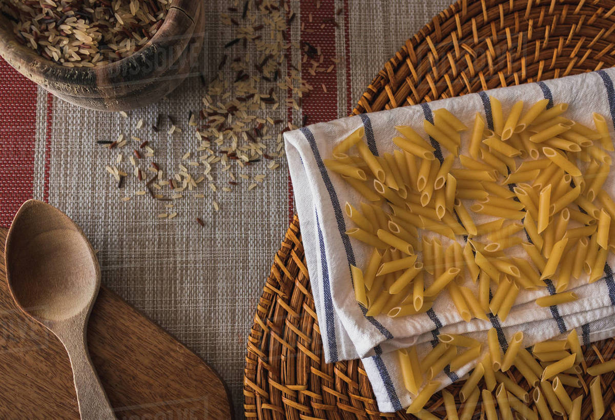 Prepared pasta to be cooked by hand Royalty-free stock photo