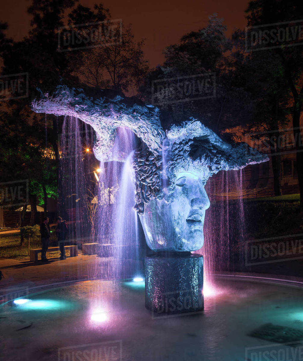 Fountain Face of God in Greek Park Royalty-free stock photo