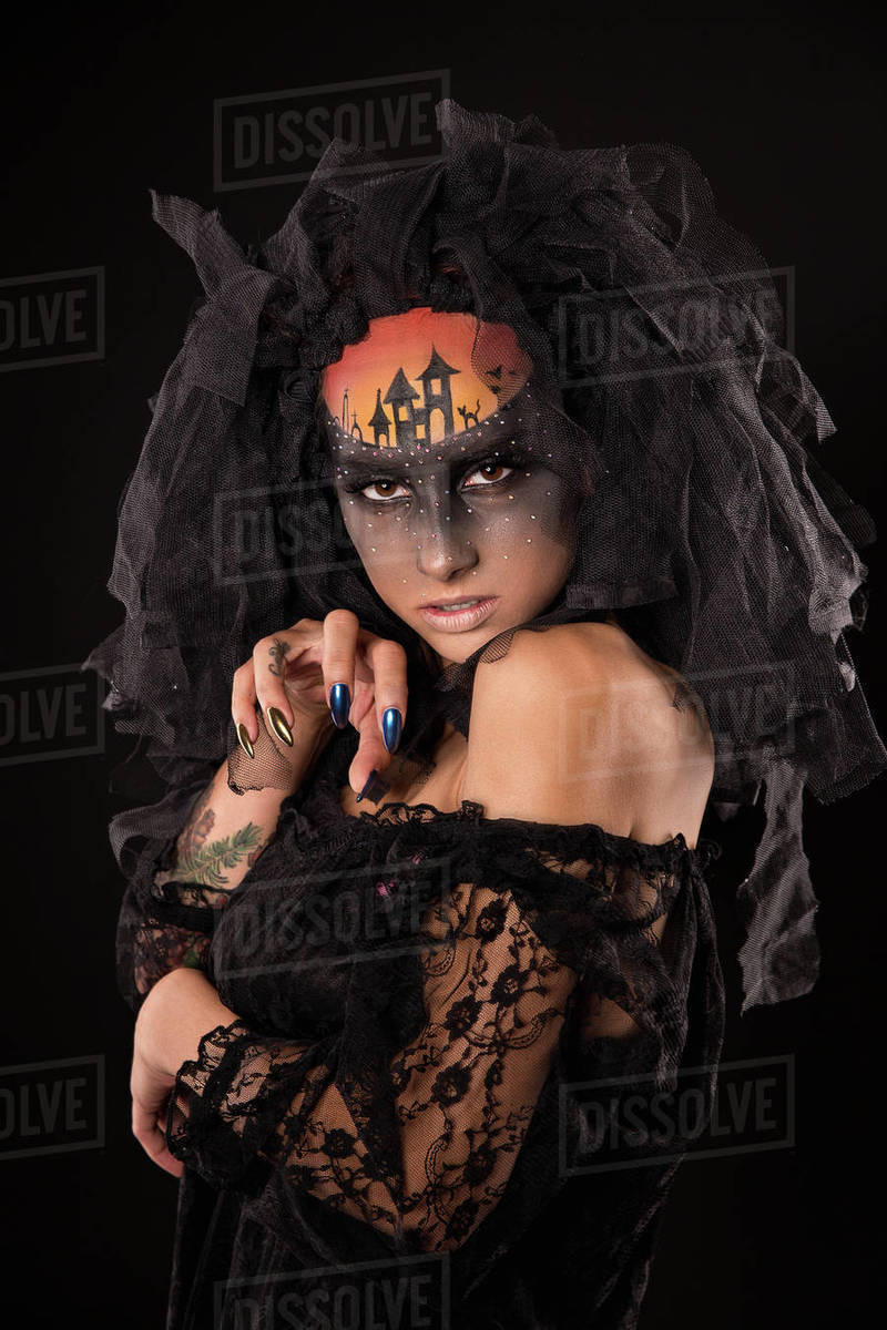 Halloween devil's bride with scary gothic makeup Royalty-free stock photo