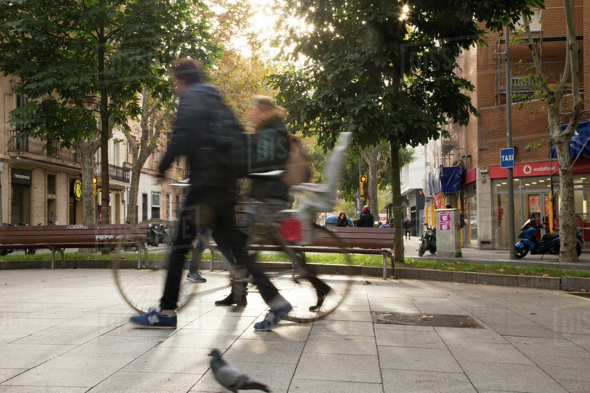 People walking in Poblenou area in Barcelona Royalty-free stock photo