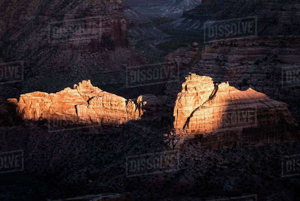 Sunlight falling on rock formations at Bryce Canyon National Park Royalty-free stock photo