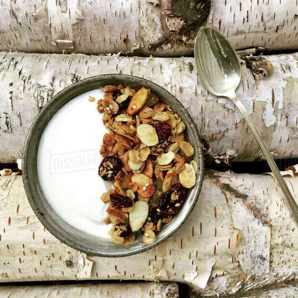 Overhead view of granola served in plate with spoon on log Royalty-free stock photo
